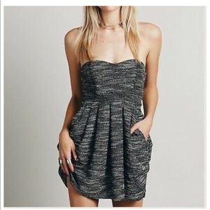 Free People Black & White Nyima Draped Dress